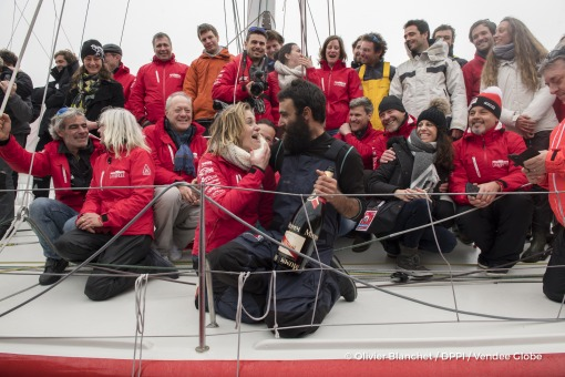Team celebration with Mumm champagne during Finish arrival of Alan Roura (SUI), skipper La Fabrique, 12th of the sailing circumnavigation solo race Vendee Globe, in Les Sables d'Olonne, France, on February 20th, 2017 - Photo Olivier Blanchet / DPPI / Vendee GlobeArrivée de Alan Roura (SUI), skipper La Fabrique, 12ème du Vendee Globe, aux Sables d'Olonne, France, le 20 Février 2017 - Photo Olivie