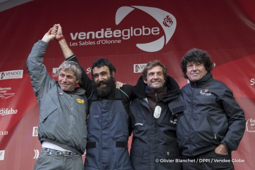 Podium with Swiss skipper Bernard Stamm, Eric Bellion (FRA), skipper Comme Un Seul Homme, and Jean Le Cam (FRA), skipper Finistere Mer Vent, during Finish arrival of Alan Roura (SUI), skipper La Fabrique, 12th of the sailing circumnavigation solo race Vendee Globe, in Les Sables d'Olonne, France, on February 20th, 2017 - Photo Olivier Blanchet / DPPI / Vendee GlobeArrivée de Alan Roura (SUI), sk