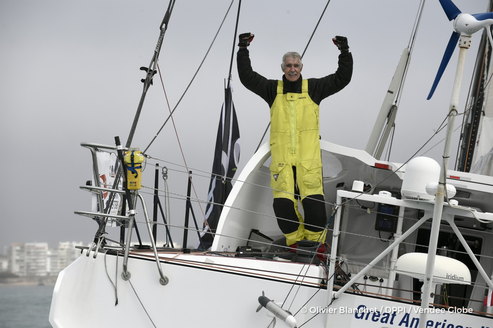 Celebration during Finish arrival of Rich Wilson (USA), skipper Great American IV, 13th of the sailing circumnavigation solo race Vendee Globe, in Les Sables d'Olonne, France, on February 21st, 2017 - Photo Olivier Blanchet / DPPI / Vendee GlobeArrivée de Rich Wilson (USA), skipper Great American IV, 13ème du Vendee Globe, aux Sables d'Olonne, France, le 21 Février 2017 - Photo Olivier Blanchet