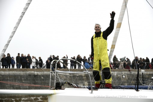 Celebration in the channel during Finish arrival of Rich Wilson (USA), skipper Great American IV, 13th of the sailing circumnavigation solo race Vendee Globe, in Les Sables d'Olonne, France, on February 21st, 2017 - Photo Olivier Blanchet / DPPI / Vendee GlobeArrivée de Rich Wilson (USA), skipper Great American IV, 13ème du Vendee Globe, aux Sables d'Olonne, France, le 21 Février 2017 - Photo Ol