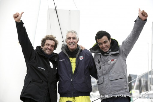Eric Bellion (FRA), skipper Comme Un Seul Homme, and Alan Roura (SUI), skipper La Fabrique, congratulations  during Finish arrival of Rich Wilson (USA), skipper Great American IV, 13th of the sailing circumnavigation solo race Vendee Globe, in Les Sables d'Olonne, France, on February 21st, 2017 - Photo Olivier Blanchet / DPPI / Vendee GlobeArrivée de Rich Wilson (USA), skipper Great American IV,