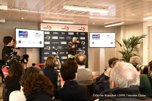 Press conference during Finish arrival of Rich Wilson (USA), skipper Great American IV, 13th of the sailing circumnavigation solo race Vendee Globe, in Les Sables d'Olonne, France, on February 21st, 2017 - Photo Olivier Blanchet / DPPI / Vendee GlobeArrivée de Rich Wilson (USA), skipper Great American IV, 13ème du Vendee Globe, aux Sables d'Olonne, France, le 21 Février 2017 - Photo Olivier Blan