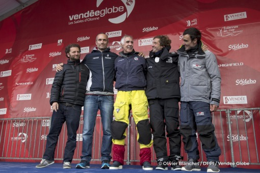 Arnaud Boissieres (FRA), skipper La Mie Caline, Fabrice Amedeo (FRA), skipper Newrest Matmut, Eric Bellion (FRA), skipper Comme Un Seul Homme, and Alan Roura (SUI), skipper La Fabrique, on Podium during Finish arrival of Rich Wilson (USA), skipper Great American IV, 13th of the sailing circumnavigation solo race Vendee Globe, in Les Sables d'Olonne, France, on February 21st, 2017 - Photo Olivier B