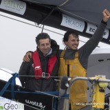 Celebration with boat captain Jordi Griso during Finish arrival of Didac Costa (ESP), skipper One planet One ocean, 14th of the sailing circumnavigation solo race Vendee Globe, in Les Sables d'Olonne, France, on February 23rd, 2017 - Photo Olivier Blanchet / DPPI / Vendee GlobeArrivée de Didac Costa (ESP), skipper One planet One ocean, 14ème du Vendee Globe, aux Sables d'Olonne, France, le 23 Fé