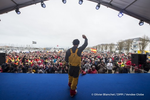 Podium during Finish arrival of Didac Costa (ESP), skipper One planet One ocean, 14th of the sailing circumnavigation solo race Vendee Globe, in Les Sables d'Olonne, France, on February 23rd, 2017 - Photo Olivier Blanchet / DPPI / Vendee GlobeArrivée de Didac Costa (ESP), skipper One planet One ocean, 14ème du Vendee Globe, aux Sables d'Olonne, France, le 23 Février 2017 - Photo Olivier Blanchet