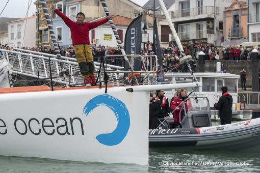 Celebration during Finish arrival of Didac Costa (ESP), skipper One planet One ocean, 14th of the sailing circumnavigation solo race Vendee Globe, in Les Sables d'Olonne, France, on February 23rd, 2017 - Photo Olivier Blanchet / DPPI / Vendee GlobeArrivée de Didac Costa (ESP), skipper One planet One ocean, 14ème du Vendee Globe, aux Sables d'Olonne, France, le 23 Février 2017 - Photo Olivier Bla