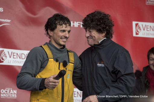 Podium with Jean Le Cam (FRA), skipper Finistere Mer Vent, during Finish arrival of Didac Costa (ESP), skipper One planet One ocean, 14th of the sailing circumnavigation solo race Vendee Globe, in Les Sables d'Olonne, France, on February 23rd, 2017 - Photo Olivier Blanchet / DPPI / Vendee GlobeArrivée de Didac Costa (ESP), skipper One planet One ocean, 14ème du Vendee Globe, aux Sables d'Olonne,
