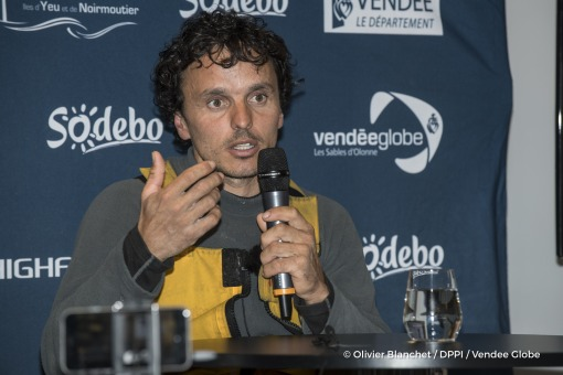 Press conference during Finish arrival of Didac Costa (ESP), skipper One planet One ocean, 14th of the sailing circumnavigation solo race Vendee Globe, in Les Sables d'Olonne, France, on February 23rd, 2017 - Photo Olivier Blanchet / DPPI / Vendee GlobeArrivée de Didac Costa (ESP), skipper One planet One ocean, 14ème du Vendee Globe, aux Sables d'Olonne, France, le 23 Février 2017 - Photo Olivie