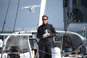 Playing with his drone during Finish arrival of Conrad Colman (NZL), skipper Foresight Natural Energy,16th of the sailing circumnavigation solo race Vendee Globe, in Les Sables d'Olonne, France, on February 24th, 2017 - Photo Olivier Blanchet / DPPI / Vendee GlobeArrivée de Conrad Colman (NZL), skipper Foresight Natural Energy, 16ème du Vendee Globe, aux Sables d'Olonne, France, le 24 Février 20