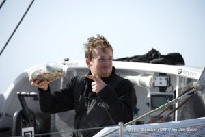 1st meal during Finish arrival of Conrad Colman (NZL), skipper Foresight Natural Energy,16th of the sailing circumnavigation solo race Vendee Globe, in Les Sables d'Olonne, France, on February 24th, 2017 - Photo Olivier Blanchet / DPPI / Vendee GlobeArrivée de Conrad Colman (NZL), skipper Foresight Natural Energy, 16ème du Vendee Globe, aux Sables d'Olonne, France, le 24 Février 2017 - Photo Oli