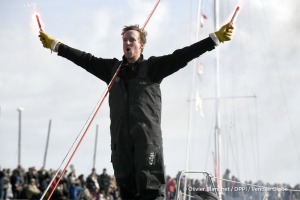 Celebration during Finish arrival of Conrad Colman (NZL), skipper Foresight Natural Energy,16th of the sailing circumnavigation solo race Vendee Globe, in Les Sables d'Olonne, France, on February 24th, 2017 - Photo Olivier Blanchet / DPPI / Vendee GlobeArrivée de Conrad Colman (NZL), skipper Foresight Natural Energy, 16ème du Vendee Globe, aux Sables d'Olonne, France, le 24 Février 2017 - Photo