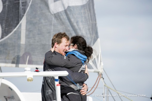 Wife Clara during Finish arrival of Conrad Colman (NZL), skipper Foresight Natural Energy,16th of the sailing circumnavigation solo race Vendee Globe, in Les Sables d'Olonne, France, on February 24th, 2017 - Photo Olivier Blanchet / DPPI / Vendee GlobeArrivée de Conrad Colman (NZL), skipper Foresight Natural Energy, 16ème du Vendee Globe, aux Sables d'Olonne, France, le 24 Février 2017 - Photo O