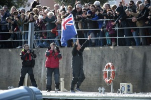 Thanking the public in the channel during Finish arrival of Conrad Colman (NZL), skipper Foresight Natural Energy,16th of the sailing circumnavigation solo race Vendee Globe, in Les Sables d'Olonne, France, on February 24th, 2017 - Photo Olivier Blanchet / DPPI / Vendee GlobeArrivée de Conrad Colman (NZL), skipper Foresight Natural Energy, 16ème du Vendee Globe, aux Sables d'Olonne, France, le 2