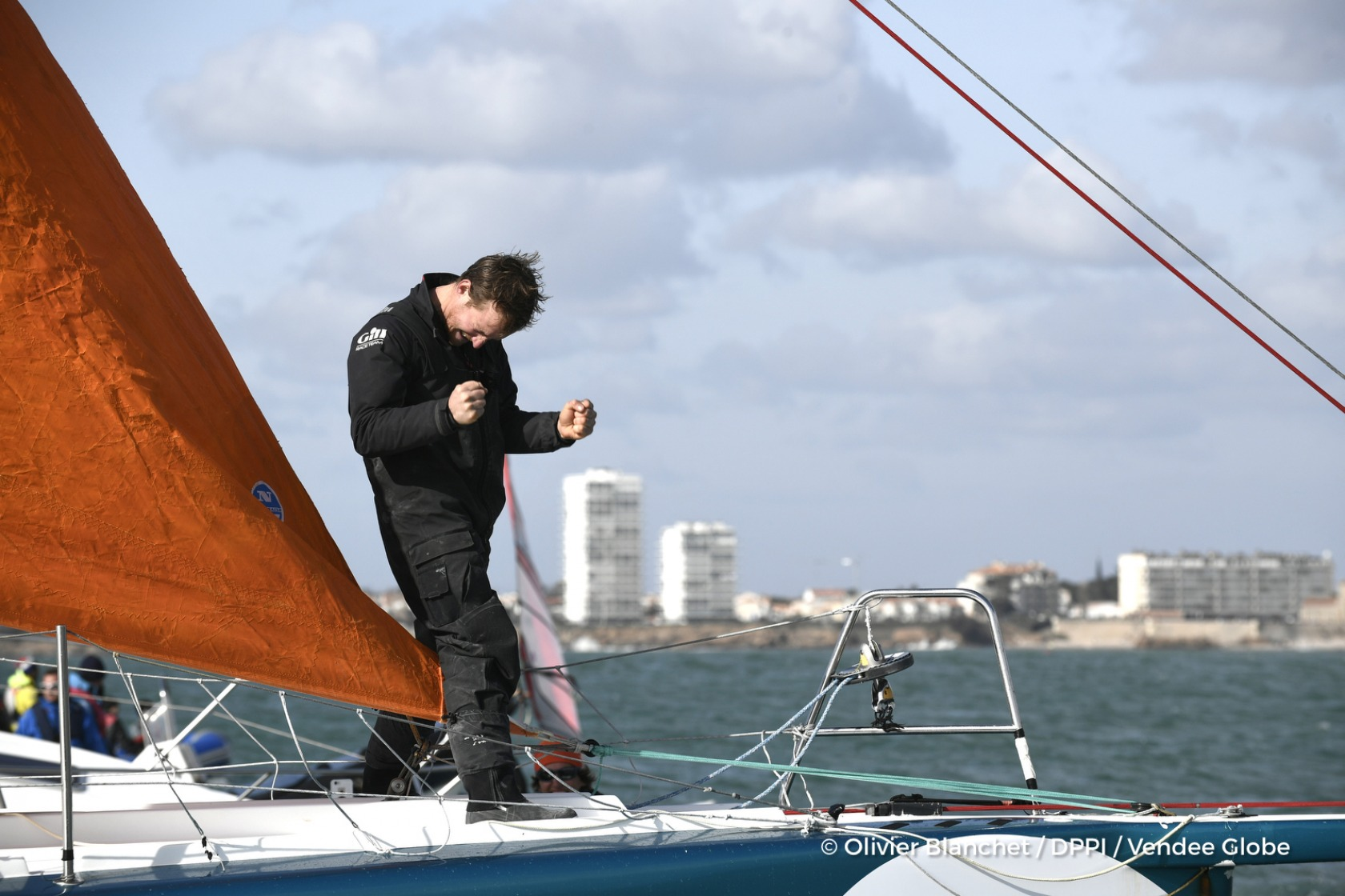 Finish arrival of Conrad Colman (NZL), skipper Foresight Natural Energy,16th of the sailing circumnavigation solo race Vendee Globe, in Les Sables d'Olonne, France, on February 24th, 2017 - Photo Olivier Blanchet / DPPI / Vendee GlobeArrivée de Conrad Colman (NZL), skipper Foresight Natural Energy, 16ème du Vendee Globe, aux Sables d'Olonne, France, le 24 Février 2017 - Photo Olivier Blanchet /