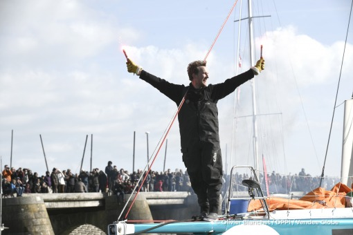 Celebration in the channel during Finish arrival of Conrad Colman (NZL), skipper Foresight Natural Energy,16th of the sailing circumnavigation solo race Vendee Globe, in Les Sables d'Olonne, France, on February 24th, 2017 - Photo Olivier Blanchet / DPPI / Vendee GlobeArrivée de Conrad Colman (NZL), skipper Foresight Natural Energy, 16ème du Vendee Globe, aux Sables d'Olonne, France, le 24 Févrie