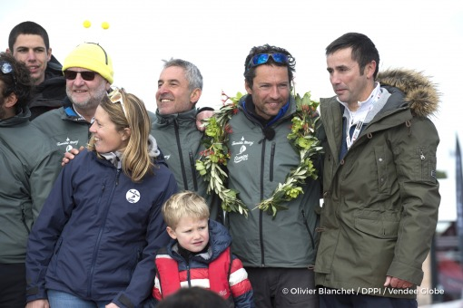 Team at pontoon during Finish arrival of Romain Attanasio (FRA), skipper Famille Mary - Etamine du Lys,15th of the sailing circumnavigation solo race Vendee Globe, in Les Sables d'Olonne, France, on February 24th, 2017 - Photo Olivier Blanchet / DPPI / Vendee GlobeArrivée de Romain Attanasio (FRA), skipper Famille Mary - Etamine du Lys, 15ème du Vendee Globe, aux Sables d'Olonne, France, le 24 F