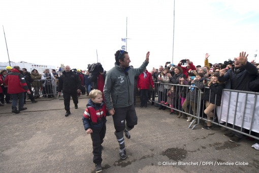 Podium with his son Ruben during Finish arrival of Romain Attanasio (FRA), skipper Famille Mary - Etamine du Lys,15th of the sailing circumnavigation solo race Vendee Globe, in Les Sables d'Olonne, France, on February 24th, 2017 - Photo Olivier Blanchet / DPPI / Vendee GlobeArrivée de Romain Attanasio (FRA), skipper Famille Mary - Etamine du Lys, 15ème du Vendee Globe, aux Sables d'Olonne, Franc