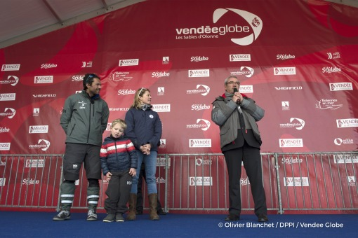 Podium with his wife Sam Davies and son Ruben, and Yves Auvinet (CG85 President) during Finish arrival of Romain Attanasio (FRA), skipper Famille Mary - Etamine du Lys,15th of the sailing circumnavigation solo race Vendee Globe, in Les Sables d'Olonne, France, on February 24th, 2017 - Photo Olivier Blanchet / DPPI / Vendee GlobeArrivée de Romain Attanasio (FRA), skipper Famille Mary - Etamine du