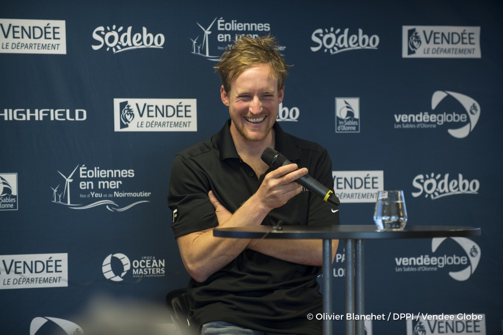 Press conference during Finish arrival of Conrad Colman (NZL), skipper Foresight Natural Energy,16th of the sailing circumnavigation solo race Vendee Globe, in Les Sables d'Olonne, France, on February 24th, 2017 - Photo Olivier Blanchet / DPPI / Vendee Globe