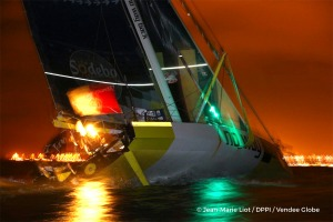 Finish arrival of Pieter Heerema (NL), skipper No Way Back,17th of the sailing circumnavigation solo race Vendee Globe, in Les Sables d'Olonne, France, on March 2nd, 2017 - Photo Jean-Marie Liot / DPPI / Vendee GlobeArrivée de Pieter Heerema (NL), skipper No Way Back, 17ème du Vendee Globe, aux Sables d'Olonne, France, le 2 Mars 2017 - Photo Jean-Marie Liot / DPPI / Vendee Globe