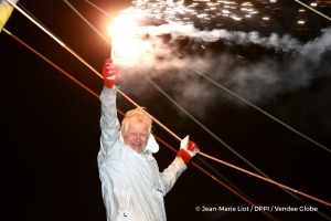 Celebration with flares during Finish arrival of Pieter Heerema (NL), skipper No Way Back,17th of the sailing circumnavigation solo race Vendee Globe, in Les Sables d'Olonne, France, on March 2nd, 2017 - Photo Jean-Marie Liot / DPPI / Vendee GlobeArrivée de Pieter Heerema (NL), skipper No Way Back, 17ème du Vendee Globe, aux Sables d'Olonne, France, le 2 Mars 2017 - Photo Jean-Marie Liot / DPPI