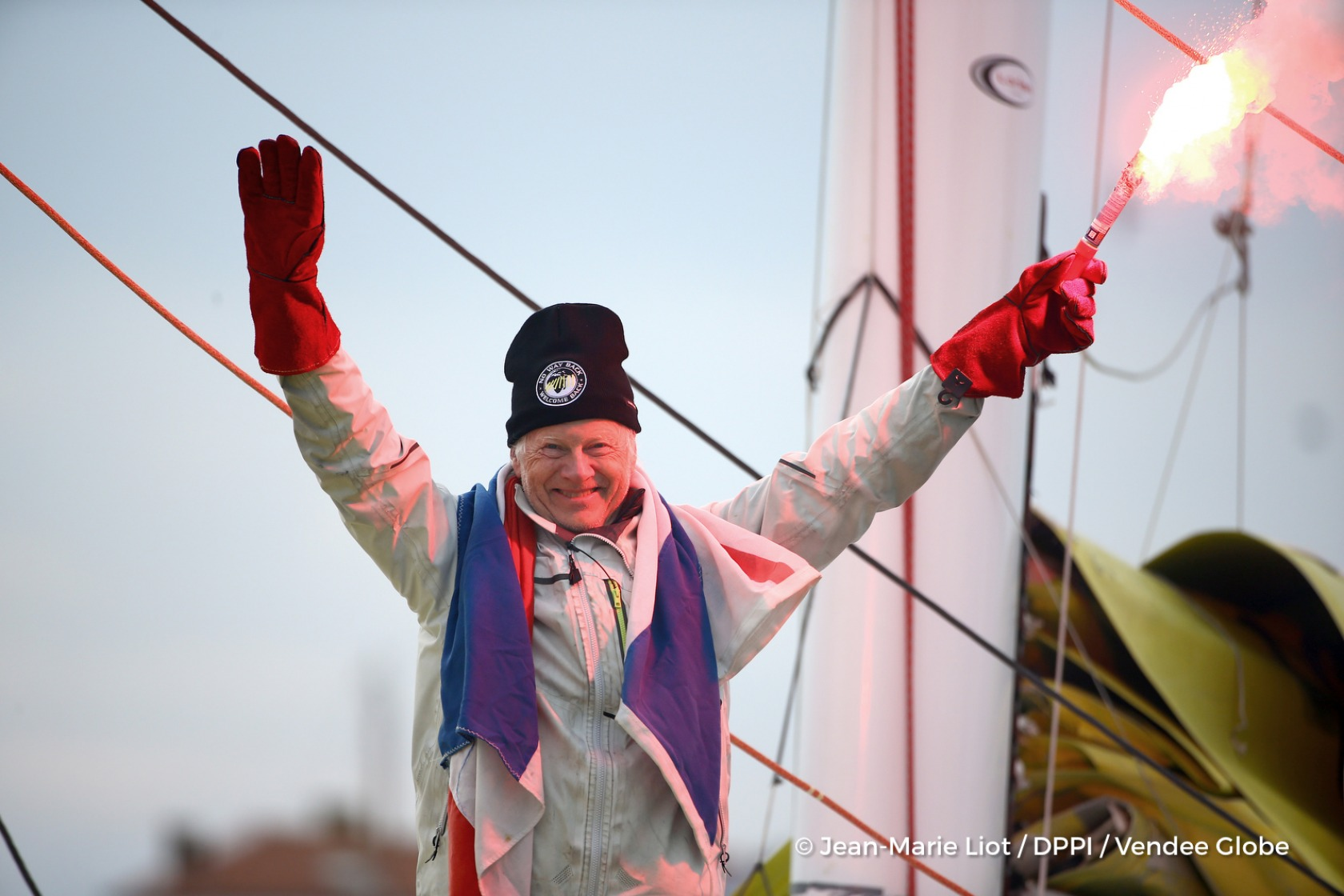 Celebration in the channel during Finish arrival of Pieter Heerema (NL), skipper No Way Back,17th of the sailing circumnavigation solo race Vendee Globe, in Les Sables d'Olonne, France, on March 2nd, 2017 - Photo Jean-Marie Liot / DPPI / Vendee GlobeArrivée de Pieter Heerema (NL), skipper No Way Back, 17ème du Vendee Globe, aux Sables d'Olonne, France, le 2 Mars 2017 - Photo Jean-Marie Liot / DP