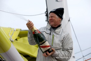 Celebration with Mumm champagne at pontoon during Finish arrival of Pieter Heerema (NL), skipper No Way Back,17th of the sailing circumnavigation solo race Vendee Globe, in Les Sables d'Olonne, France, on March 2nd, 2017 - Photo Jean-Marie Liot / DPPI / Vendee GlobeArrivée de Pieter Heerema (NL), skipper No Way Back, 17ème du Vendee Globe, aux Sables d'Olonne, France, le 2 Mars 2017 - Photo Jean