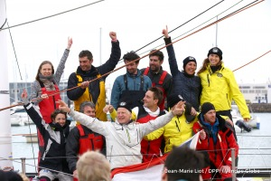 Celebration with the team at pontoon during Finish arrival of Pieter Heerema (NL), skipper No Way Back,17th of the sailing circumnavigation solo race Vendee Globe, in Les Sables d'Olonne, France, on March 2nd, 2017 - Photo Jean-Marie Liot / DPPI / Vendee GlobeArrivée de Pieter Heerema (NL), skipper No Way Back, 17ème du Vendee Globe, aux Sables d'Olonne, France, le 2 Mars 2017 - Photo Jean-Marie