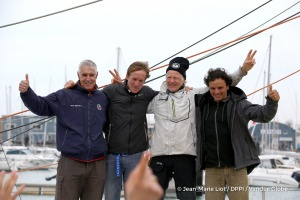 Celebration with Rich Wilson (USA), skipper Great American IV, Conrad Colman (NZL), skipper Foresight Natural Energy, and Didac Costa (ESP), skipper One planet One ocean, during Finish arrival of Pieter Heerema (NL), skipper No Way Back,17th of the sailing circumnavigation solo race Vendee Globe, in Les Sables d'Olonne, France, on March 2nd, 2017 - Photo Jean-Marie Liot / DPPI / Vendee Globe