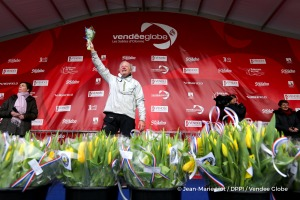Podium with tulips during Finish arrival of Pieter Heerema (NL), skipper No Way Back,17th of the sailing circumnavigation solo race Vendee Globe, in Les Sables d'Olonne, France, on March 2nd, 2017 - Photo Jean-Marie Liot / DPPI / Vendee Globe