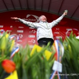 Podium with tulips during Finish arrival of Pieter Heerema (NL), skipper No Way Back,17th of the sailing circumnavigation solo race Vendee Globe, in Les Sables d'Olonne, France, on March 2nd, 2017 - Photo Jean-Marie Liot / DPPI / Vendee GlobeArrivée de Pieter Heerema (NL), skipper No Way Back, 17ème du Vendee Globe, aux Sables d'Olonne, France, le 2 Mars 2017 - Photo Jean-Marie Liot / DPPI / Ven