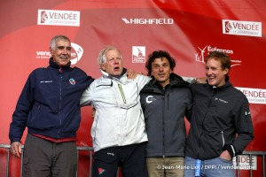 Podium with Rich Wilson (USA), skipper Great American IV, Didac Costa (ESP), skipper One planet One ocean, Conrad Colman (NZL), skipper Foresight Natural Energy, during Finish arrival of Pieter Heerema (NL), skipper No Way Back,17th of the sailing circumnavigation solo race Vendee Globe, in Les Sables d'Olonne, France, on March 2nd, 2017 - Photo Jean-Marie Liot / DPPI / Vendee GlobeArrivée de Pi