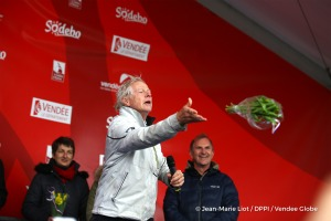 Throwing tulips during podium ceremony after Finish arrival of Pieter Heerema (NL), skipper No Way Back,17th of the sailing circumnavigation solo race Vendee Globe, in Les Sables d'Olonne, France, on March 2nd, 2017 - Photo Jean-Marie Liot / DPPI / Vendee GlobeArrivée de Pieter Heerema (NL), skipper No Way Back, 17ème du Vendee Globe, aux Sables d'Olonne, France, le 2 Mars 2017 - Photo Jean-Mari