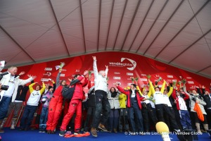 Celebration on Podium during Finish arrival of Pieter Heerema (NL), skipper No Way Back,17th of the sailing circumnavigation solo race Vendee Globe, in Les Sables d'Olonne, France, on March 2nd, 2017 - Photo Jean-Marie Liot / DPPI / Vendee GlobeArrivée de Pieter Heerema (NL), skipper No Way Back, 17ème du Vendee Globe, aux Sables d'Olonne, France, le 2 Mars 2017 - Photo Jean-Marie Liot / DPPI /