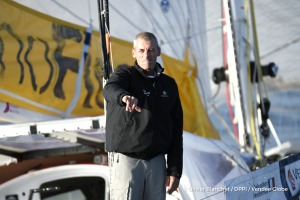 Finish arrival of Sebastien Destremau (FRA), skipper Technofirst Face Ocean,18th of the sailing circumnavigation solo race Vendee Globe, in Les Sables d'Olonne, France, on March 10th, 2017 - Photo Olivier Blanchet / DPPI / Vendee Globe