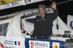 Celebration during finish arrival of Sebastien Destremau (FRA), skipper Technofirst Face Ocean,18th of the sailing circumnavigation solo race Vendee Globe, in Les Sables d'Olonne, France, on March 11th, 2017 - Photo Jean-Marie Liot / DPPI / Vendee GlobeArrivée de Sebastien Destremau (FRA), skipper Technofirst Face Ocean, 18ème du Vendee Globe, aux Sables d'Olonne, France, le 11 Mars 2017 - Photo