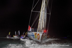 Finish arrival of Sebastien Destremau (FRA), skipper Technofirst Face Ocean,18th of the sailing circumnavigation solo race Vendee Globe, in Les Sables d'Olonne, France, on March 11th, 2017 - Photo Jean-Marie Liot / DPPI / Vendee GlobeArrivée de Sebastien Destremau (FRA), skipper Technofirst Face Ocean, 18ème du Vendee Globe, aux Sables d'Olonne, France, le 11 Mars 2017 - Photo Jean-Marie Liot /