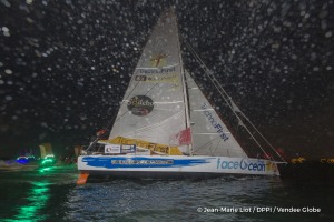 Finish arrival of Sebastien Destremau (FRA), skipper Technofirst Face Ocean,18th of the sailing circumnavigation solo race Vendee Globe, in Les Sables d'Olonne, France, on March 11th, 2017 - Photo Jean-Marie Liot / DPPI / Vendee Globe