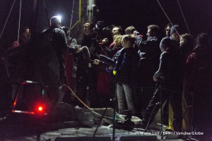 Media onboard during Finish arrival of Sebastien Destremau (FRA), skipper Technofirst Face Ocean,18th of the sailing circumnavigation solo race Vendee Globe, in Les Sables d'Olonne, France, on March 11th, 2017 - Photo Jean-Marie Liot / DPPI / Vendee GlobeArrivée de Sebastien Destremau (FRA), skipper Technofirst Face Ocean, 18ème du Vendee Globe, aux Sables d'Olonne, France, le 11 Mars 2017 - Pho