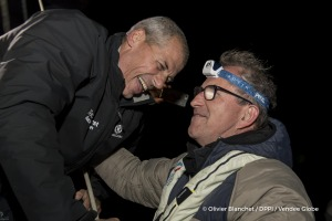 Jacques Caraes (Race Director) during Finish arrival of Sebastien Destremau (FRA), skipper Technofirst Face Ocean,18th of the sailing circumnavigation solo race Vendee Globe, in Les Sables d'Olonne, France, on March 11th, 2017 - Photo Olivier Blanchet / DPPI / Vendee Globe