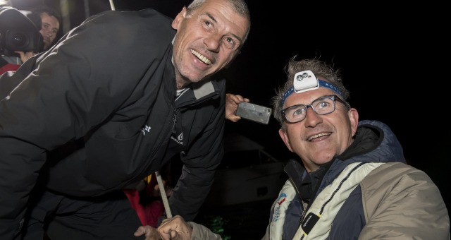 Jacques Caraes (Race Director) during Finish arrival of Sebastien Destremau (FRA), skipper Technofirst Face Ocean,18th of the sailing circumnavigation solo race Vendee Globe, in Les Sables d'Olonne, France, on March 11th, 2017 - Photo Olivier Blanchet / DPPI / Vendee GlobeArrivée de Sebastien Destremau (FRA), skipper Technofirst Face Ocean, 18ème du Vendee Globe, aux Sables d'Olonne, France, le