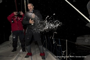 Celebration with champagne onboard during Finish arrival of Sebastien Destremau (FRA), skipper Technofirst Face Ocean,18th of the sailing circumnavigation solo race Vendee Globe, in Les Sables d'Olonne, France, on March 11th, 2017 - Photo Olivier Blanchet / DPPI / Vendee Globe