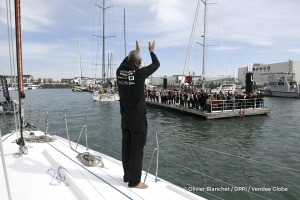 Ambiance pontoon after finish arrival of Sebastien Destremau (FRA), skipper Technofirst Face Ocean,18th of the sailing circumnavigation solo race Vendee Globe, in Les Sables d'Olonne, France, on March 11th, 2017 - Photo Olivier Blanchet / DPPI / Vendee Globe