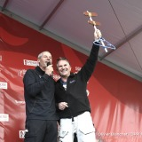 Ambiance podium with Jacques Caraes (Race Director) and the Ocean's key after finish arrival of Sebastien Destremau (FRA), skipper Technofirst Face Ocean,18th of the sailing circumnavigation solo race Vendee Globe, in Les Sables d'Olonne, France, on March 11th, 2017 - Photo Olivier Blanchet / DPPI / Vendee GlobeArrivée de Sebastien Destremau (FRA), skipper Technofirst Face Ocean, 18ème du Vendee