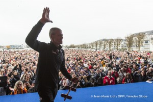 Public at podium during Finish arrival of Sebastien Destremau (FRA), skipper Technofirst Face Ocean,18th of the sailing circumnavigation solo race Vendee Globe, in Les Sables d'Olonne, France, on March 11th, 2017 - Photo Jean-Marie Liot / DPPI / Vendee GlobeArrivée de Sebastien Destremau (FRA), skipper Technofirst Face Ocean, 18ème du Vendee Globe, aux Sables d'Olonne, France, le 11 Mars 2017 -