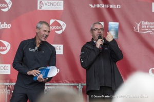 Yves Auvinet (CG85 President) on podium during Finish arrival of Sebastien Destremau (FRA), skipper Technofirst Face Ocean,18th of the sailing circumnavigation solo race Vendee Globe, in Les Sables d'Olonne, France, on March 11th, 2017 - Photo Jean-Marie Liot / DPPI / Vendee GlobeArrivée de Sebastien Destremau (FRA), skipper Technofirst Face Ocean, 18ème du Vendee Globe, aux Sables d'Olonne, Fra