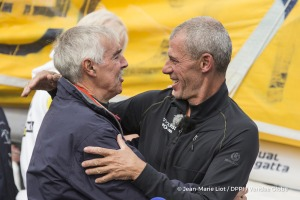 Rich Wilson (USA), skipper Great American IV, congratulation during Finish arrival of Sebastien Destremau (FRA), skipper Technofirst Face Ocean,18th of the sailing circumnavigation solo race Vendee Globe, in Les Sables d'Olonne, France, on March 11th, 2017 - Photo Jean-Marie Liot / DPPI / Vendee GlobeArrivée de Sebastien Destremau (FRA), skipper Technofirst Face Ocean, 18ème du Vendee Globe, aux