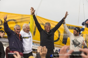 Rich Wilson, Pieter Heerema and Arnaud Boissieres congratulations during Finish arrival of Sebastien Destremau (FRA), skipper Technofirst Face Ocean,18th of the sailing circumnavigation solo race Vendee Globe, in Les Sables d'Olonne, France, on March 11th, 2017 - Photo Jean-Marie Liot / DPPI / Vendee GlobeArrivée de Sebastien Destremau (FRA), skipper Technofirst Face Ocean, 18ème du Vendee Globe