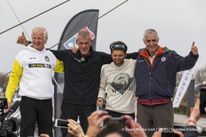 Pieter Heerema, Arnaud Boissieres and Rich Wilson congratulations during Finish arrival of Sebastien Destremau (FRA), skipper Technofirst Face Ocean,18th of the sailing circumnavigation solo race Vendee Globe, in Les Sables d'Olonne, France, on March 11th, 2017 - Photo Jean-Marie Liot / DPPI / Vendee GlobeArrivée de Sebastien Destremau (FRA), skipper Technofirst Face Ocean, 18ème du Vendee Globe