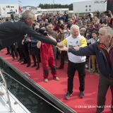 Rich Wilson (USA), skipper Great American IV, and Pieter Heerema (NL), skipper No Way Back, at pontoon during Finish arrival of Sebastien Destremau (FRA), skipper Technofirst Face Ocean,18th of the sailing circumnavigation solo race Vendee Globe, in Les Sables d'Olonne, France, on March 10th, 2017 - Photo Olivier Blanchet / DPPI / Vendee Globe